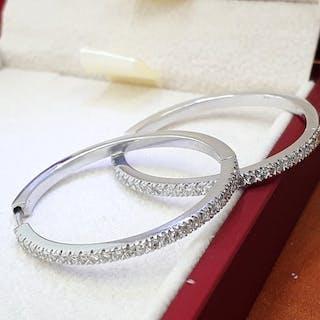 18 kt. White gold - Earrings - 0.83 ct Diamond - Diamond