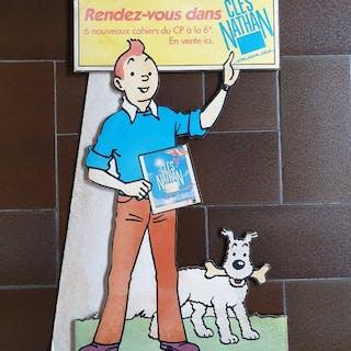 Tintin - PLV publicitaire en carton - Cahiers Clés Nathan - 50cm - (1985)