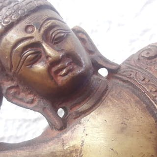 Skulptur, Liegender Buddha - Bronze - Laos - Zweite Hälfte des 20. Jahrhunderts
