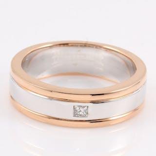 14 kt. Pink gold, White gold - Ring - 0.07 ct Diamond