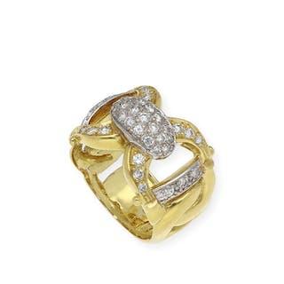 18 kt. White gold, Yellow gold - Ring - 1.00 ct Diamond