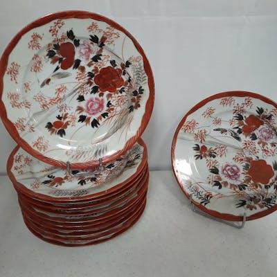 Assiettes (12) - Kutani - Porcelaine - Fleurs