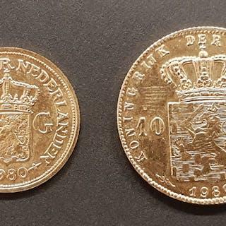 Paesi Bassi - Penningen van 5 en 10 Gulden 1980 Beatrix - Oro