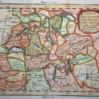 Schweiz, Savoy; Buffier - Carta del Paese degli Svizzeri...