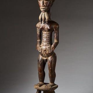 Male statue - Wood - Baoulé - Ivory Coast