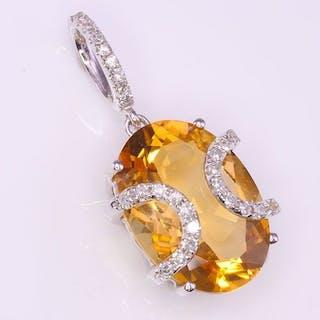 14 KtWhite gold - Pendant - 4.70 ct Citrine - Diamonds