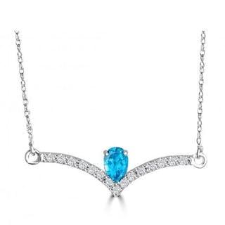 14 kt. Gold - Necklace Topaz - Diamonds