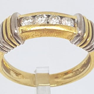 18 quilates Oro amarillo, Oro blanco - Anillo - 0.40 ct Diamante