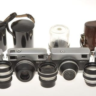 VEB Werra , small collection of 4 cameras and 3 additional lenses, exc/exc++++