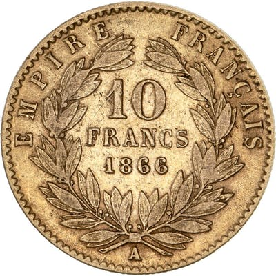 France - 10 Francs 1866-A Napoleon III - Or