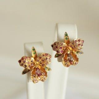 925 Silber - Ohrringe Turmalin - Rubine, Saphire, Smaragde, Turmaline