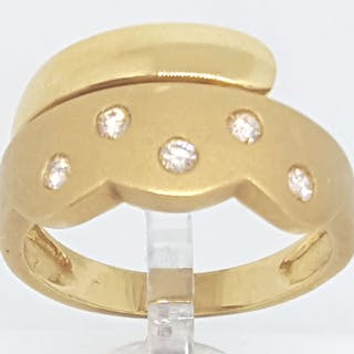 18 kt. Yellow gold - Ring - 0.18 ct Diamond
