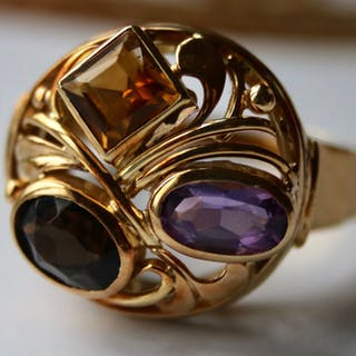14 kt. Yellow gold - Handcrafted large Cocktail Ring - 1.35 ct natural Amethyst