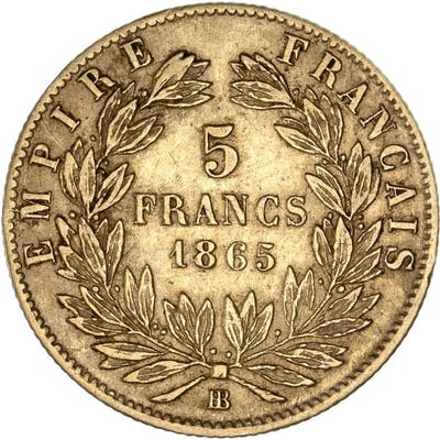 France - 5 Francs 1865-BB Napoleon III - Or