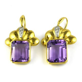 Luxury - 18 quilates Oro amarillo - Pendientes Amatista - Diamantes
