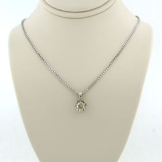 18k collier, 14k hanger White gold - Necklace with pendant - 0.50 ct Diamond