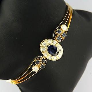 14 kt. Yellow gold - Bracelet - 1.50 ct Sapphire - Diamond