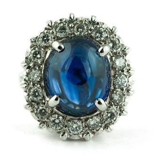 Luxury - 18 kt. White gold - Ring Sapphire - Diamond
