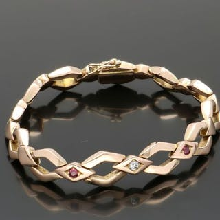 14 kt. Yellow gold - Bracelet - 0.08 ct Ruby - Diamond