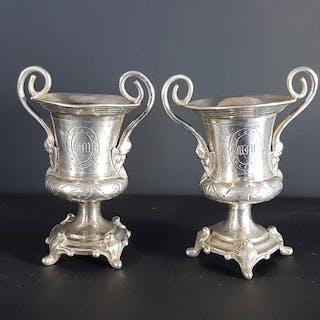 Paire de vase médicis  - Argent 950 - France - Seconde moitié du XIXe siècle