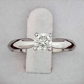 14 kt. White gold - Ring - Clarity enhanced 0.50 ct Diamond - D/VS2 - No Reserve