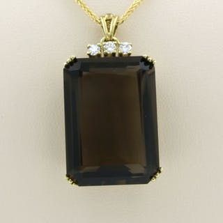 14k collier, 8k hanger Yellow gold - Necklace with pendant Topaz