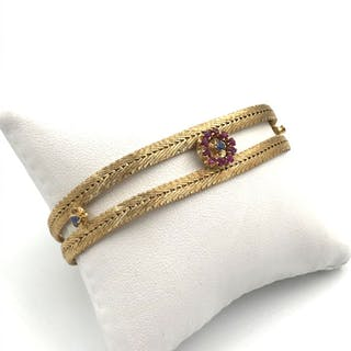 18 kt. Yellow gold - Bracelet - 0.15 ct Ruby - Sapphires
