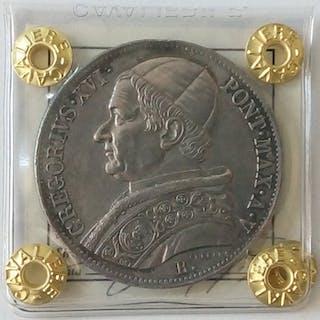 Italy - Papal States - Scudo 1835 - Anno V - Roma - Gregorio XVI - Silver