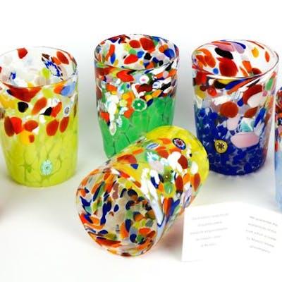Made Murano Glass  - Set 6 Bicchiere Mace e Murrina multicolore - Vetro
