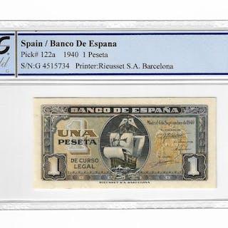 Spanien - 1 Peseta1940 - Serie-H - Pick 122a - PCGS64 Choice UNC