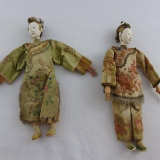 Doll (2) - Brass, Ceramic, Wood - China - Second half 19th century