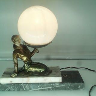Chryselephantine Lampe de Chevet Luminaire Art Deco...