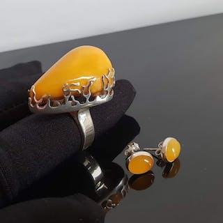 925 Bernstein, Silber - Ohrringe, Ring, Set