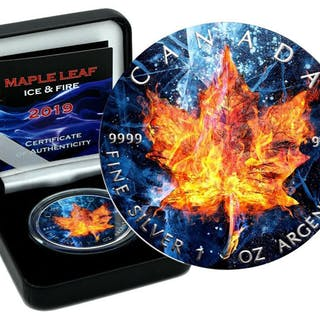 Kanada - 5 Dollar 2019Maple Leaf color ICE & FIRE Edition...