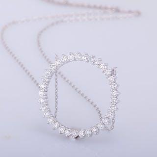 14 kt. White gold - Pendant - 1.00 ct Diamond