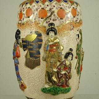 Vaso - Satsuma - Ceramica - Marked 'Fukuzan zo' 福山造 - Giappone - circa
