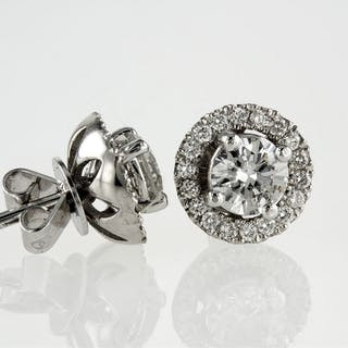 14 kt. White gold - Earrings, 2 IN 1- 0.86 ct Diamond - D - VS2