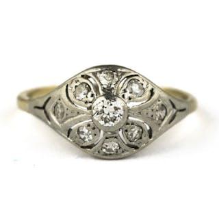 Authentic Antique Art Deco - 18 kt. White gold - Ring Diamond