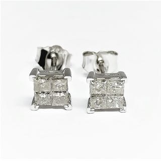 14 kt. White gold - Earrings - 0.78 ct Diamond