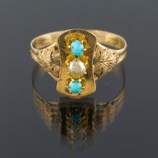 Authentic Antique - 18 kt. Yellow gold - Ring Turquoise - Pearl