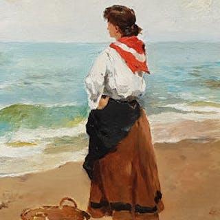 Francisco Miralles y Gallup (1848-1901) - Femme sur la plage