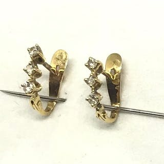 18 quilates Oro, Oro amarillo - Pendientes - 0.20 ct Diamante - Diamante