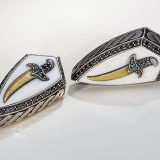 Gold, Silver - Cufflinks - 0.10 ct - Citrines, Diamonds