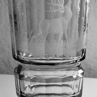 Moser - Vase - Verre - Vase En Cerf Gravé Années 1920