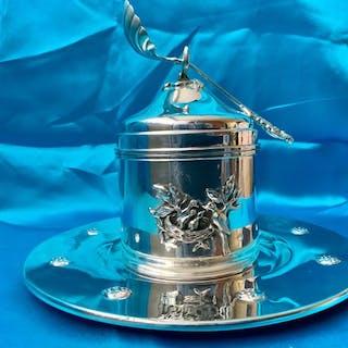 Silver sugar / tea caddy box with spoon on silver tray...