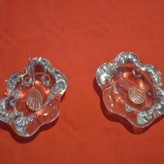 Daum France - Paire de salerons en cristal avec 2 cuillières - Cristal