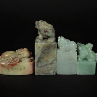 Siegel (4) - Speckstein, Jadeit - China - Ende des 20. Jahrhunderts