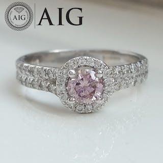 0.76ct Natural Fancy Vivid Purplish Pink - 14 kt. White gold - Ring - Diamonds