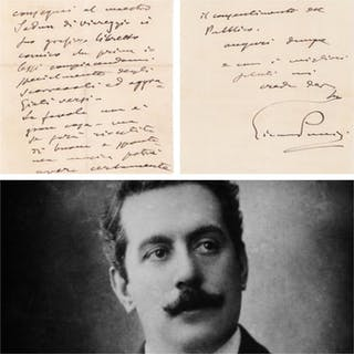 Giacomo Puccini Composer - Autograph; Letter on the...