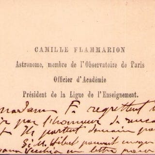 Camille Flammarion- Autograph; Signed Business Card with...